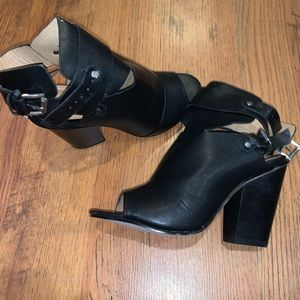 justfab black booties with open toe slingback
